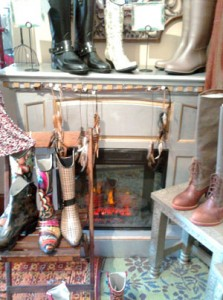 Portable fireplace in Venice clothing store