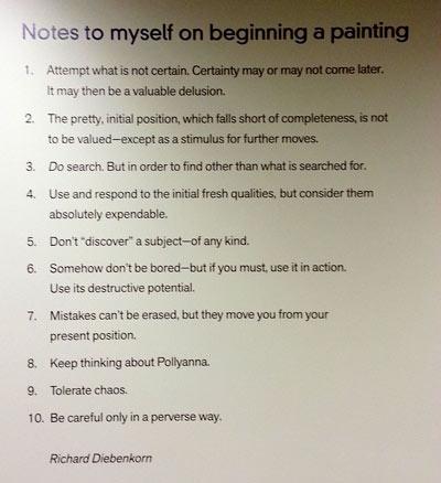 Richard DIebenkorn's Notes on Painting