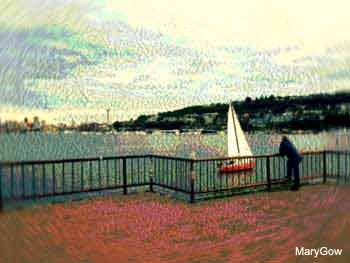 The Red Boat at Lake Union, by Mary Gow