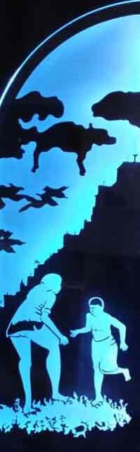 Dancing Under a Rorshach Cloud, sandblasted glass panel by Kurt Stoeckel