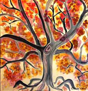 """Tree,"" painting on silk by Joy-Lily. Photo by Mary Gow"