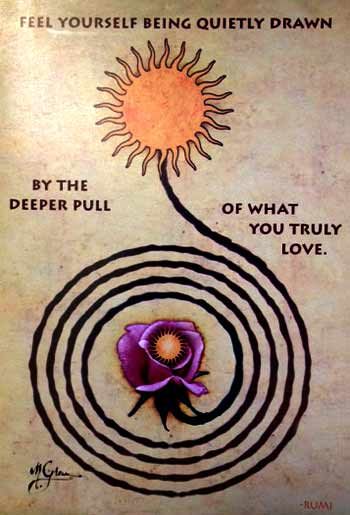 Quote from Rumi on a Brush Dance card designed by Michael Green, translation by Coleman Barks.