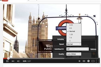 "Click on the YouTube ""Settings"" icon and pick your playback speed."
