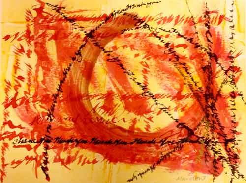 """""""Thank You,"""" calligraphy on monotype by Mary Gow"""