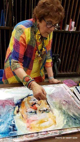 Myrna Wacknov drawing with watercolors on Tyvek